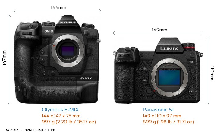 Olympus E-M1X vs Panasonic S1 Camera Size Comparison - Front View