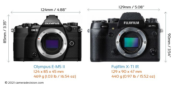 Olympus E-M5 II vs Fujifilm X-T1 IR Camera Size Comparison - Front View