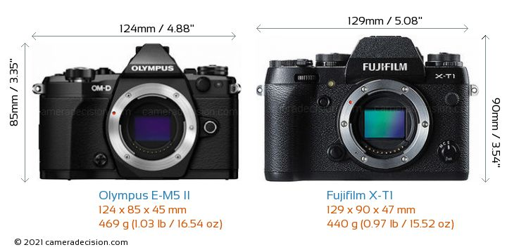 Olympus E-M5 II vs Fujifilm X-T1 Camera Size Comparison - Front View
