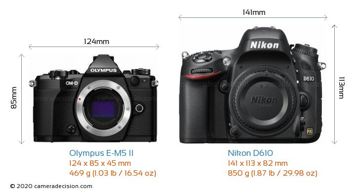 Olympus E-M5 II vs Nikon D610 Camera Size Comparison - Front View