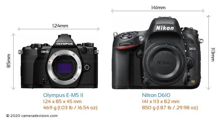 Olympus E-M5 II vs Nikon D610 Camera Size Comparison - Front View