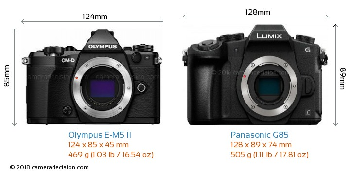 Olympus E-M5 II vs Panasonic G85 Camera Size Comparison - Front View