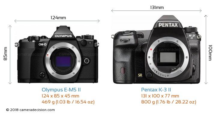 Olympus E-M5 II vs Pentax K-3 II Camera Size Comparison - Front View