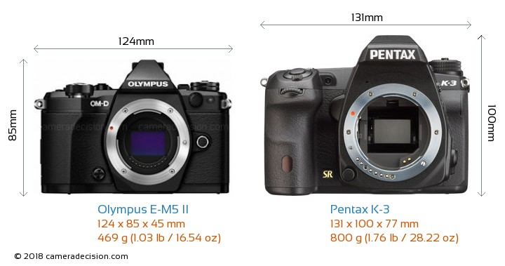 Olympus E-M5 II vs Pentax K-3 Camera Size Comparison - Front View