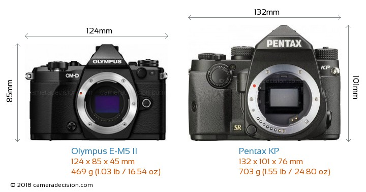 Olympus E-M5 II vs Pentax KP Camera Size Comparison - Front View