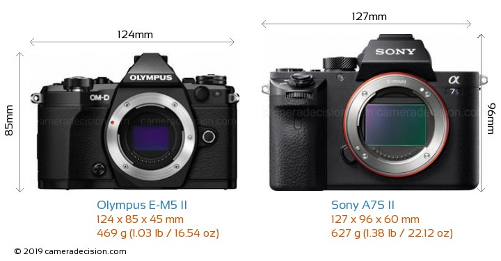 Olympus E-M5 II vs Sony A7S II Camera Size Comparison - Front View