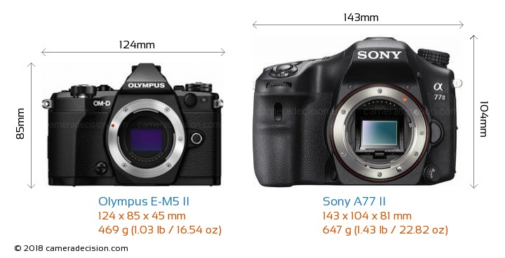 Olympus E-M5 II vs Sony A77 II Camera Size Comparison - Front View