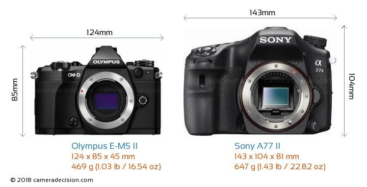 Olympus E-M5 II vs Sony A77 II Camera Size Comparison - Front View