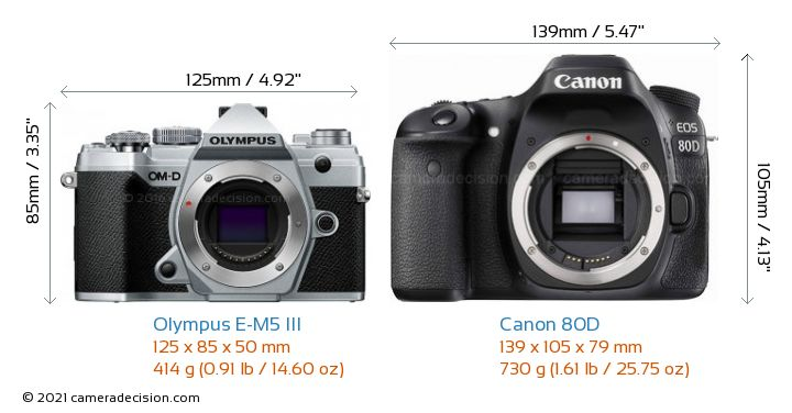 Olympus E-M5 III vs Canon 80D Camera Size Comparison - Front View