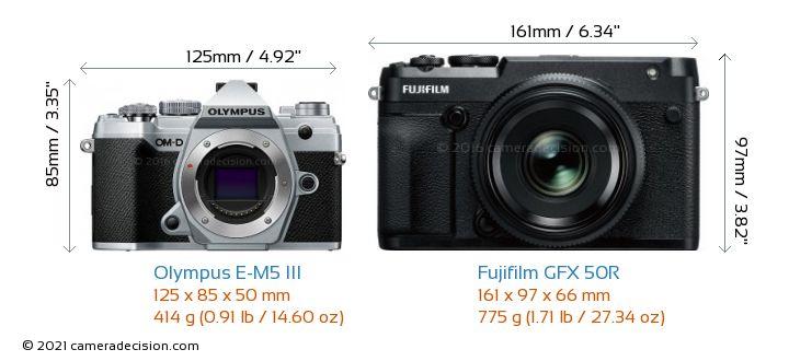 Olympus E-M5 III vs Fujifilm GFX 50R Camera Size Comparison - Front View