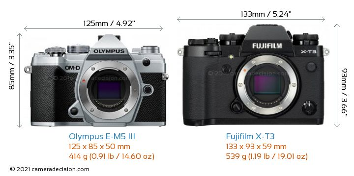 Olympus E-M5 III vs Fujifilm X-T3 Camera Size Comparison - Front View