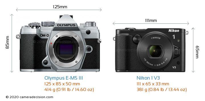 Olympus E-M5 III vs Nikon 1 V3 Camera Size Comparison - Front View