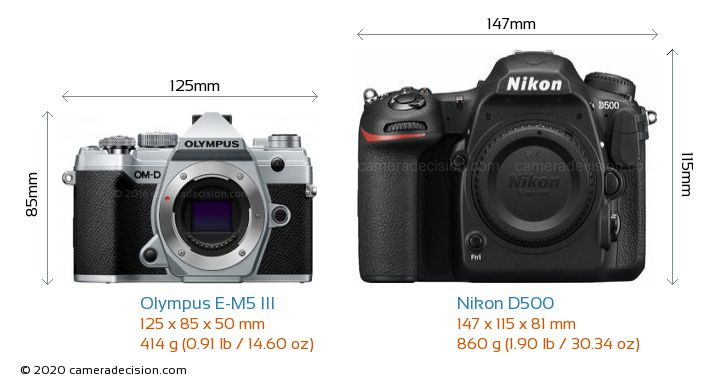 Olympus E-M5 III vs Nikon D500 Camera Size Comparison - Front View
