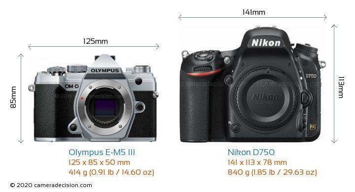 Olympus E-M5 III vs Nikon D750 Camera Size Comparison - Front View