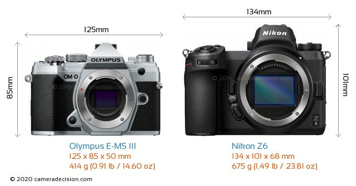 Olympus E-M5 III vs Nikon Z6 Camera Size Comparison - Front View