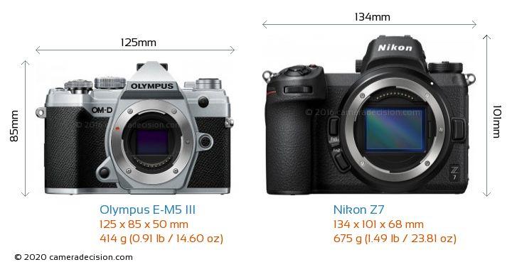 Olympus E-M5 III vs Nikon Z7 Camera Size Comparison - Front View