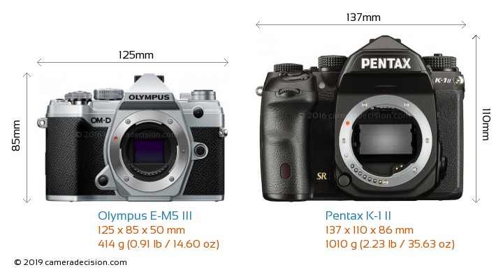 Olympus E-M5 III vs Pentax K-1 II Camera Size Comparison - Front View