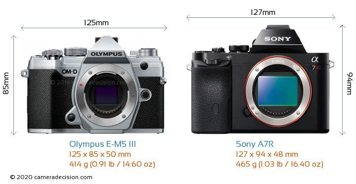 Olympus E-M5 III vs Sony A7R Camera Size Comparison - Front View