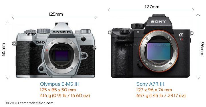 Olympus E-M5 III vs Sony A7R III Camera Size Comparison - Front View