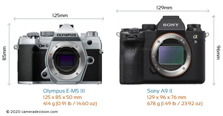 Olympus E-M5 III vs Sony A9 II Camera Size Comparison - Front View