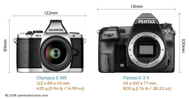 Olympus E-M5 vs Pentax K-3 II Camera Size Comparison - Front View
