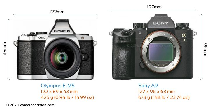 Olympus E-M5 vs Sony A9 Camera Size Comparison - Front View