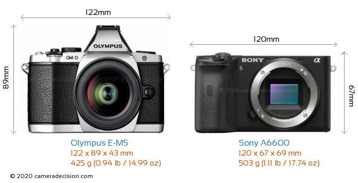 Olympus E-M5 vs Sony A6600 Camera Size Comparison - Front View