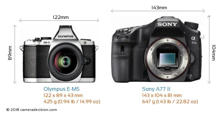 Olympus E-M5 vs Sony A77 II Camera Size Comparison - Front View