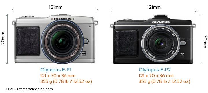 Olympus E-P1 vs Olympus E-P2 Camera Size Comparison - Front View