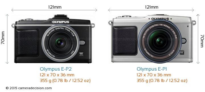 Olympus E-P2 vs Olympus E-P1 Camera Size Comparison - Front View
