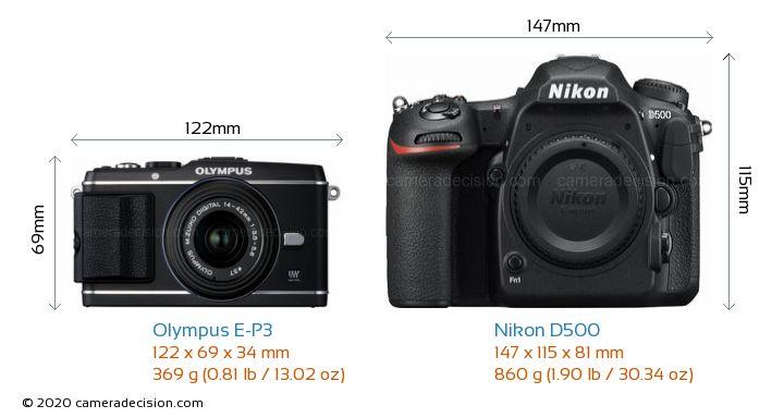 Olympus E-P3 vs Nikon D500 Camera Size Comparison - Front View