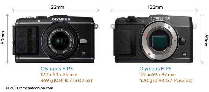 Olympus E-P3 vs Olympus E-P5 Camera Size Comparison - Front View