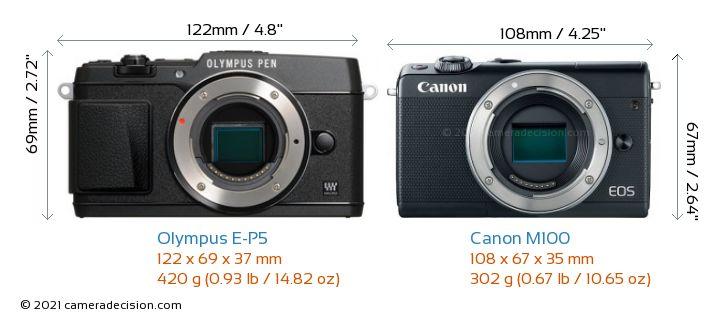 Olympus E-P5 vs Canon M100 Camera Size Comparison - Front View