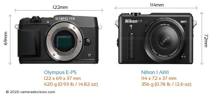 Olympus E-P5 vs Nikon 1 AW1 Camera Size Comparison - Front View