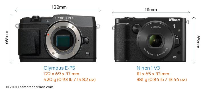Olympus E-P5 vs Nikon 1 V3 Camera Size Comparison - Front View