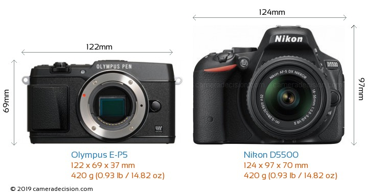 Olympus E-P5 vs Nikon D5500 Camera Size Comparison - Front View