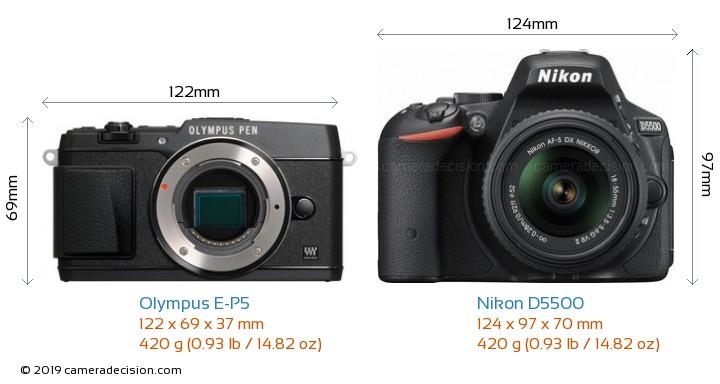 Olympus E-P5 vs Nikon D5500 Camera Size Comparison - Front View