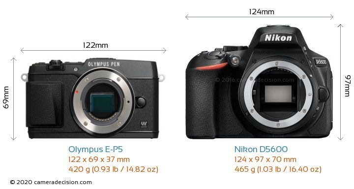 Olympus E-P5 vs Nikon D5600 Camera Size Comparison - Front View