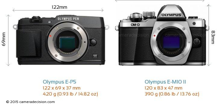 Olympus E-P5 vs Olympus E-M10 II Camera Size Comparison - Front View
