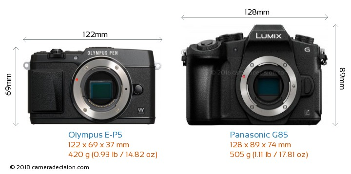 Olympus E-P5 vs Panasonic G85 Camera Size Comparison - Front View