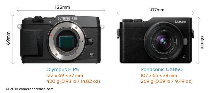 Olympus E-P5 vs Panasonic GX850 Camera Size Comparison - Front View