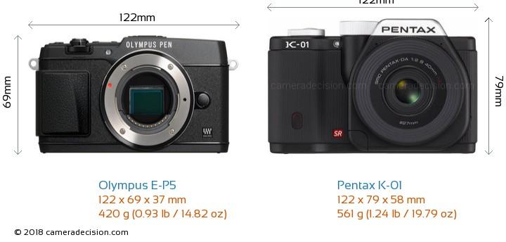 Olympus E-P5 vs Pentax K-01 Camera Size Comparison - Front View
