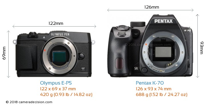 Olympus E-P5 vs Pentax K-70 Camera Size Comparison - Front View
