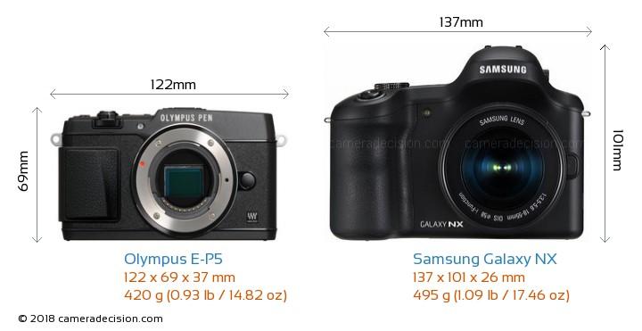 Olympus E-P5 vs Samsung Galaxy NX Camera Size Comparison - Front View