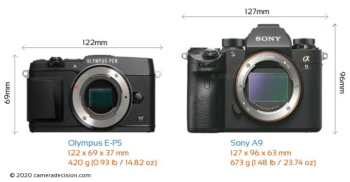 Olympus E-P5 vs Sony A9 Camera Size Comparison - Front View