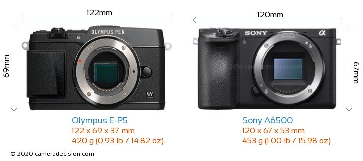 Olympus E-P5 vs Sony A6500 Camera Size Comparison - Front View