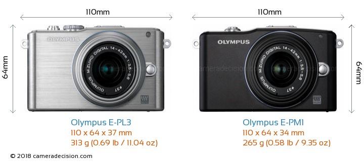 Olympus E-PL3 vs Olympus E-PM1 Camera Size Comparison - Front View