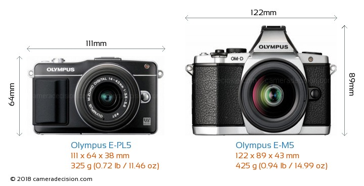Olympus E-PL5 vs Olympus E-M5 Camera Size Comparison - Front View