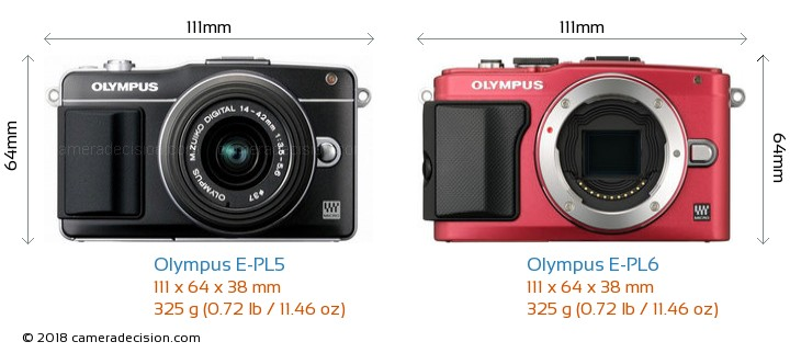 Olympus E-PL5 vs Olympus E-PL6 Camera Size Comparison - Front View