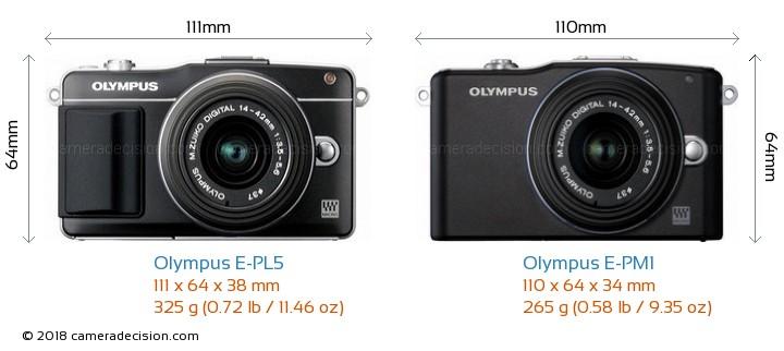 Olympus E-PL5 vs Olympus E-PM1 Camera Size Comparison - Front View